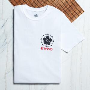 Ramen Panda Symbole Taschendruck T-Shirt - Weiß