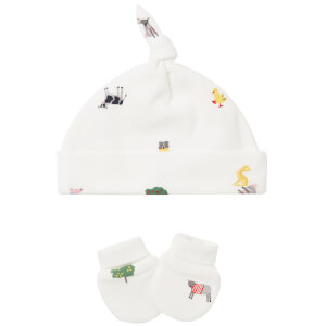 Joules Baby The Hat And Scratch Mitt Set - White Farm Print