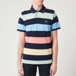 GANT Men's Barstripe Pique Short Sleeve Rugger Polo Shirt - Multicolour