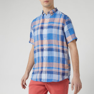 GANT Men's Linen Madras Red BD Short Sleeve Shirt - Hamptons Blue