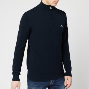GANT Men's Cotton Pique Half Zip Sweatshirt - Evening Blue