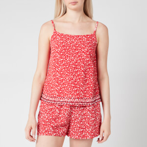 Tommy Jeans Women's TJW Embroidery Strap Top - Floral Print/Deep Crimson