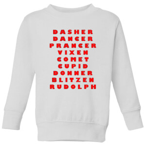 Reindeer Line Up Kids' Sweatshirt - White