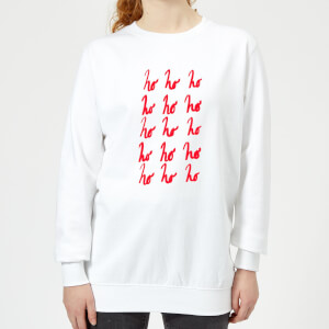 Ho Ho Ho Repetitive Women's Sweatshirt - White