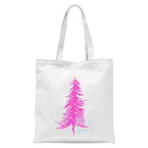 Pink Christmas Tree Tote Bag - White