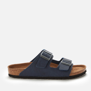 Birkenstock Men's Arizona Saddle Matt Vegan Double Strap Sandals - Navy Veg