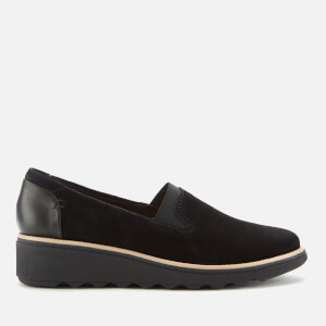 Clarks Women's Sharon Dolly Suede Wedged Loafers - Black