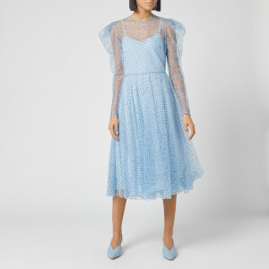 Philosophy di Lorenzo Serafini Women's Polka Dot Sheer Midi Dress - Blue