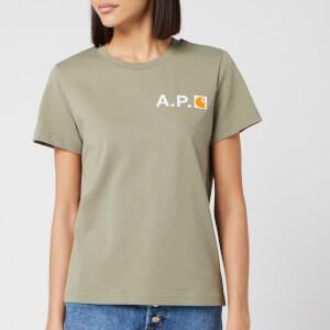 A.P.C. X Carhartt Women's Fire T-Shirt - Kaki