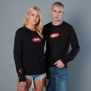 Red Lips And Knuckleduster Unisex Birds of Prey Sweatshirt - Black