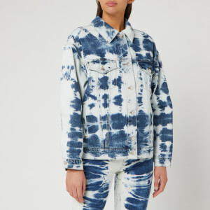 MSGM Women's Bleached Denim Jacket - Blue/ White