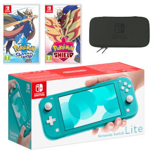 Nintendo Switch Lite (Turquoise) Pokémon Sword and Pokémon Shield Double Pack