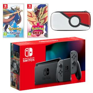 Nintendo Switch (Grey) Pokémon Sword and Pokémon Shield Double Pack