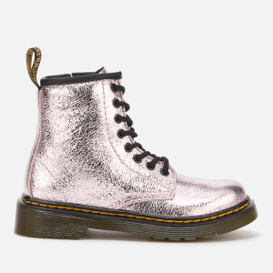 Dr. Martens Kids' 1460 J Crinkle Metallic Lace Up Boots - Pink Salt