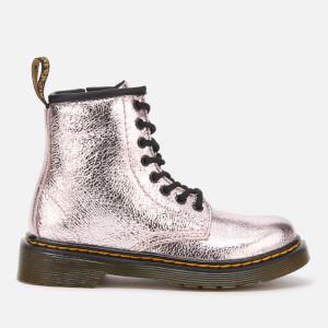 Dr. Martens Kids' 1460 J Crinkle Metallic Lace Up Boots - Pink Salt