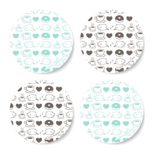 Pusheen Coffee & Donuts Round Coaster Set