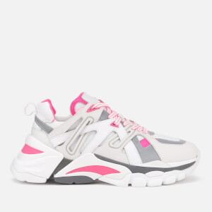 Ash Women's Flash Running Style Trainers - White/Silver/Fluo Pink