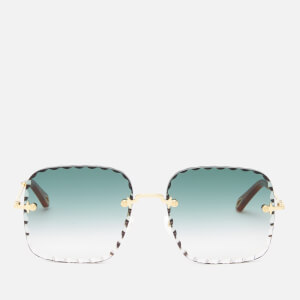 Chloé Women's Scallop Edge Rectangle Frame Sunglasses - Gold/Gradient Petrol