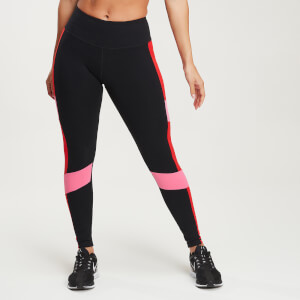 Leggings Power Colour Block - Nero/Rosso acceso