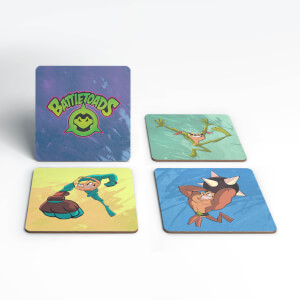 Battle Toads Rash Pimple Zitz Square Coaster Set