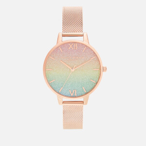 Olivia Burton Women's Rainbow Rainbow Glitter Dial Watch - Rose Gold Mesh