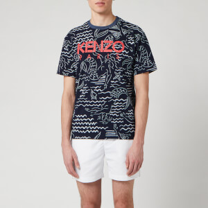 KENZO Men's All Over Printed Mermaid T-Shirt - Midnight Blue