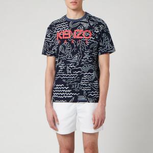 KENZO Men's All Over Printed Mermaid T-Shirt - Midnight Blue