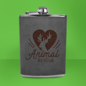 Love Heart Deer Animal Rescue Engraved Hip Flask - Grey