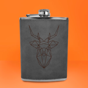 Geometric Stag Head Engraved Hip Flask - Grey
