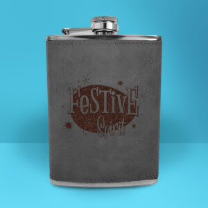Festive Spirit Engraved Hip Flask - Grey