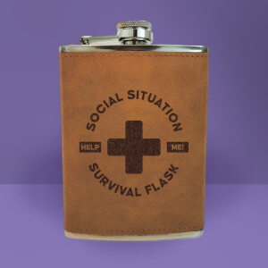 Social Situation Survival Flask - Brown Engraved Hip Flask - Brown