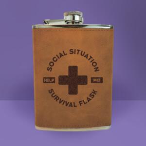 Social Situation Survival Flask - Brown Engraved Hip Flask - Brown