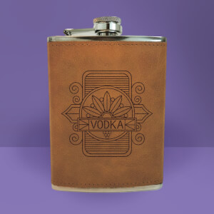 Vodka Line Seal Engraved Hip Flask - Brown