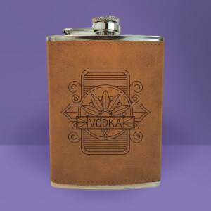 Vodka Line Seal Engraved Hip Flask - Brown