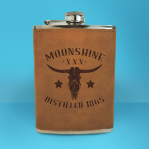 Western Moonshine Distilled 1865 Engraved Hip Flask - Brown