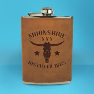 Western Moonshine Distilled 1865 Engraved Hip Flask - Brown