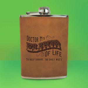 Doctor M's Elixir Of Life Engraved Hip Flask - Brown