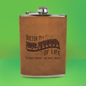 Doctor M's Elixir Of Life Engraved Hip Flask - Brown