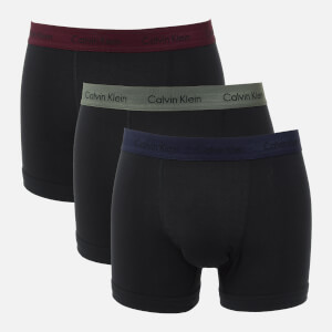 Calvin Klein Men's 3 Pack Trunks - Black-Blue/Wild Fern/Raisin Torte