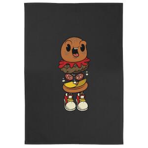 Happy Burger Cotton Black Tea Towel