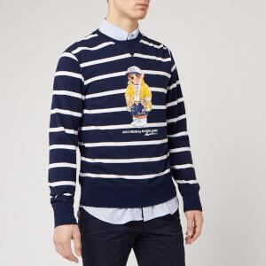 Polo Ralph Lauren Men's Bear Logo Stripe Sweatshirt - Cruise Navy/White