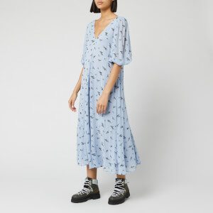 Ganni Women's Floral Printed Georgette Midi Dress - Brunnera Blue