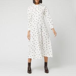 Ganni Women's Spot Printed Cotton Poplin Midi Dress - Egret