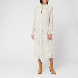 Ganni Women's Floral Midi Pleated Georgette Dress - Egret