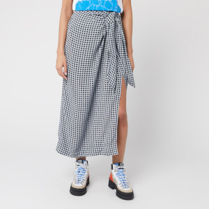 Ganni Women's Checked Printed Crepe Skirt - Brunnera Blue