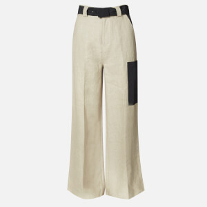 Ganni Women's Linen Wide Leg Trousers - Tannin