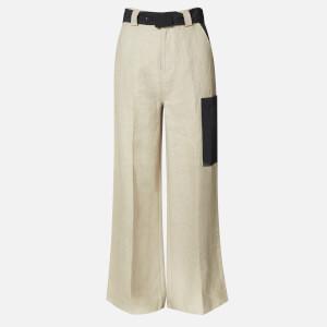 Ganni Women's Linen Wide Leg Trousers - Tannin
