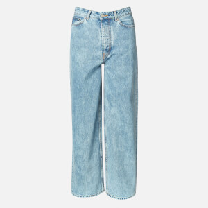 Ganni Women's Washed Denim Wide Leg Jeans - Washed Indigo