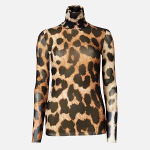 Ganni Women's Printed Mesh Long Sleeve Top - Maxi Leopard