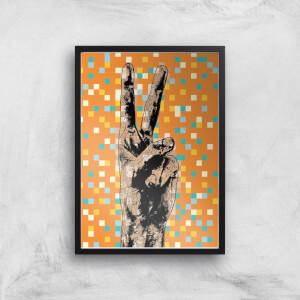 Pop Pixel Peace Sign Giclée Art Print